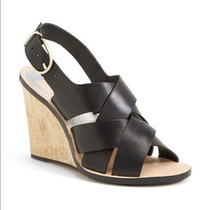 Dolce Vita Remie Black Wedge Cork Heel Sandal